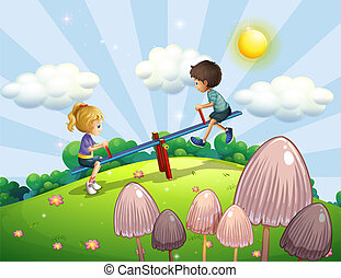 A boy and a girl riding a seesaw - Illustration of a boy and...