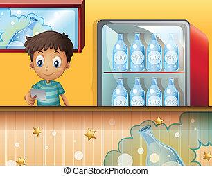 A boy in the soda shop - Illustration of a boy in the soda...