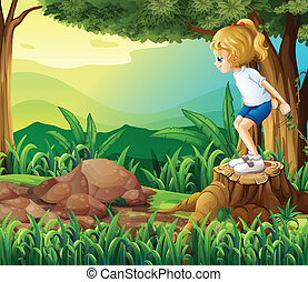 A girl in the woods - Illustration of a girl in the woods