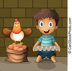 A chicken laying eggs beside the young boy with an egg tray...