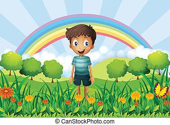 A boy in the fields - Illustration of a boy in the fields