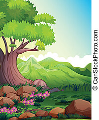 A big tree at the forest - Illustration of a big tree at the...
