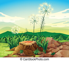 A stump near the rocks - Illustration of a stump near the...