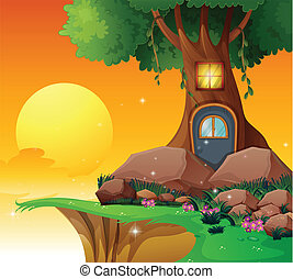 A tree house near the cliff - Illustration of a tree house...