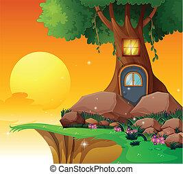 Um, árvore, casa, penhasco