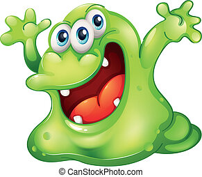 A green slime monster - Illustration of a green slime...
