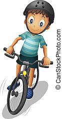 A boy biking wearing a helmet - Illustration of a boy biking...