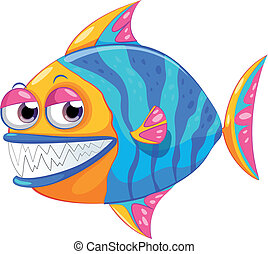 A colorful piranha - Illustration of a colorful piranha on a...