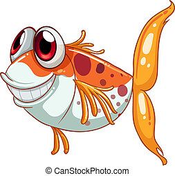 An orange fish with big eyes - Illustration of an orange...