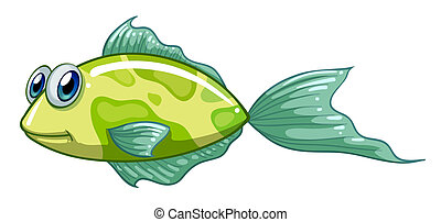 A small green fish - Illustration of a small green fish on a...