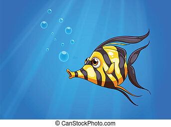 A striped colored fish under the sea - Illustration of a...