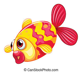A pouty fish - Illustration of a pouty fish on a white...