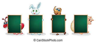 Four different kinds of animals with empty boards -...