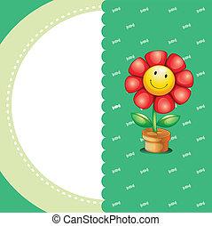 Un, papelería, sonriente, flor