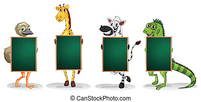 Four animals standing with empty boards - Illustration of...