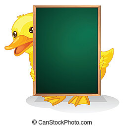 A duckling holding a blackboard - Illustration of a duckling...