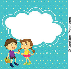 A girl and a boy with an empty callout - Illustration of a...