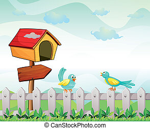 A bird house with an arrow board and birds above the fence -...