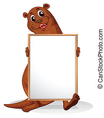 A sealion holding an empty whiteboard - Illustration of a...