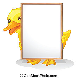 A duck hiding at the back of an empty whiteboard