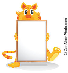 A tiger holding an empty whiteboard - Illustration of a...