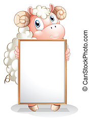 A sheep holding an empty bulletin board - Illustration of a...