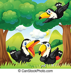 Three black birds at the forest - Illustration of the three...