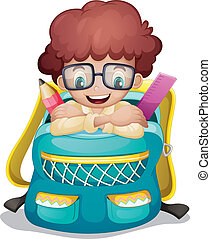 A backpack with a boy inside - Illustration of a backpack...