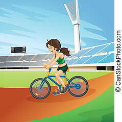 A girl biking at the field - Illustration of a girl biking...