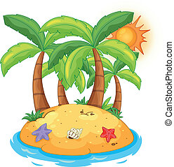 An island with coconut trees - Illustration of an island...