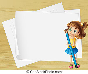 A girl thinking beside the empty papers - Illustration of a...
