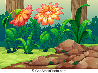 Giant flowers in the forest - Illustration of the giant...