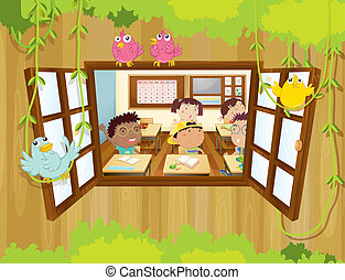 Students inside the classroom with birds at the window -...