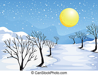 A winter season - Illustration of a winter season