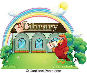 A red parrot reading in front of the library - Illustration...