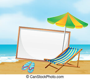 A beach with an empty whiteboard - Illustration of a beach...