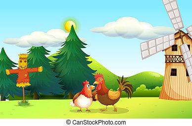 A hen and a rooster at the farm - Illustration of a hen and...