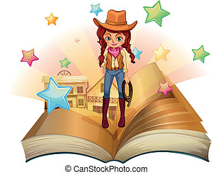 A book with a pretty cowgirl - Illustration of a book with a...