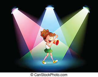 A cheerleader in the stage