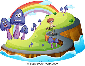 Illustration of a boy playing with his scooter at the road surrounded with mushroom plants on a white background
