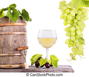Red wine, glass and barrel with grapes - Red wine, glass...