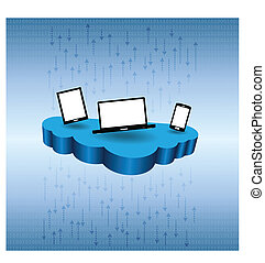 Cloud Data Stream - Vector illustration of several devices...