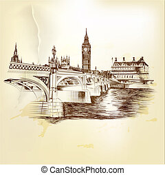 Antique vector postcard with hand drawn London bridge in...