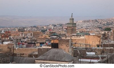 Medina in Fes, Morocco - View over the rooftops of medina in...