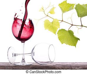 par, Lleno, vacío, vino, anteojos, de madera, tabla