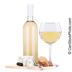 white wine assortment cheese - bottle and glass of wine,...