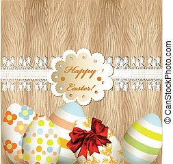 Easter greeting card with eggs, lac
