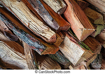 Firewood Pile - A pile of split firewood is photographed...