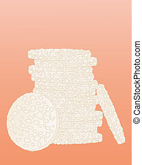 rice cakes - an illustration of a pile of rice cakes in a...