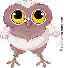Baby Owl - Illustration of a cartoon baby owl.